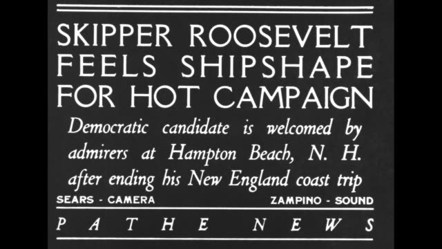stockvideo's en b-roll-footage met skipper roosevelt feels shipshape for hot campaign democratic candidate is welcomed by admirers at hampton beach nh after ending his new england... - gouverneur