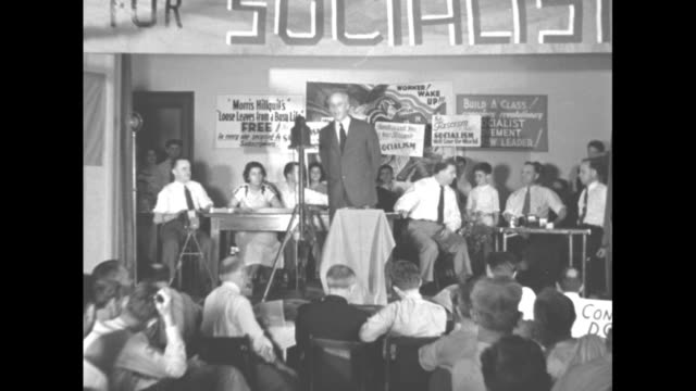 "vídeos y material grabado en eventos de stock de ""socialists to the left"" detroit - national socialist convention near split as radicals gain control! norman thomas leads new factions into power... - fascismo"
