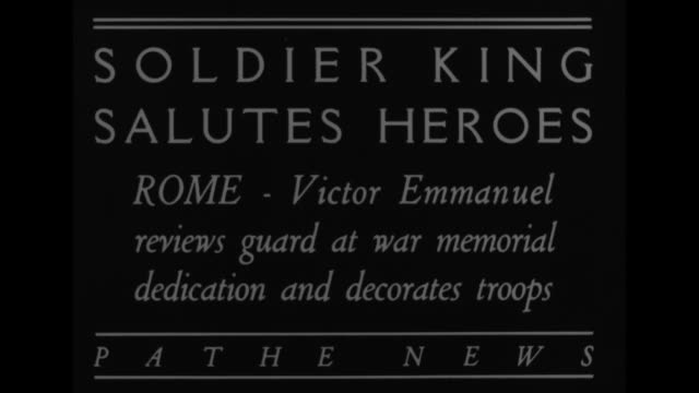 Soldier King Salutes HeroesRomeVictor Emmanuel reviews guard at war memorial dedication and decorates troops / King Emmanuel with officers and...
