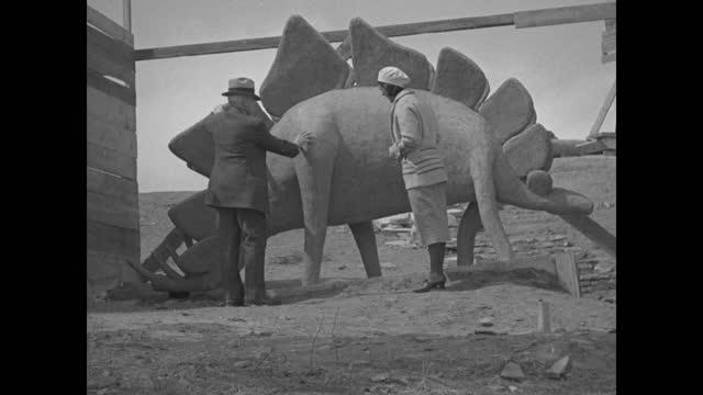 """south dakota"" superimposed over model of dinosaur surrounded by scaffolds / dinosaur model in framework, black hills, south dakota / vs men working... - extinct stock videos & royalty-free footage"