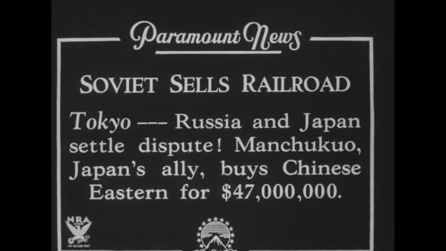 """soviet sells railroad, tokyo - russia and japan settle dispute. manchukuo, japan's ally, buys chinese eastern for $47 000"" / group of asians outside... - manchuria stock videos & royalty-free footage"