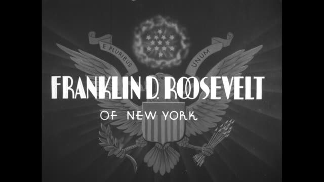 special / dissolve to title card our next president superimposed over united states seal fading in / dissolve to title card franklin d roosevelt of... - theodore roosevelt us president stock videos & royalty-free footage