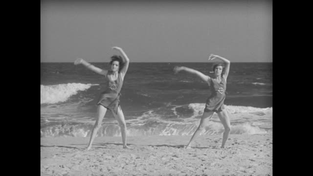 """spines of the gay nineties are not vogue of today - elizabeth arden shows easy way to attain correct posture at lido beach, l. i."" / sot arden... - good posture stock videos & royalty-free footage"
