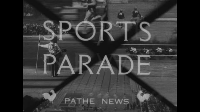 """sports parade"" superimposed over images of various sports activities, followed by bell being rung, with ""1936"" superimposed over bell / various... - 1936 stock videos & royalty-free footage"