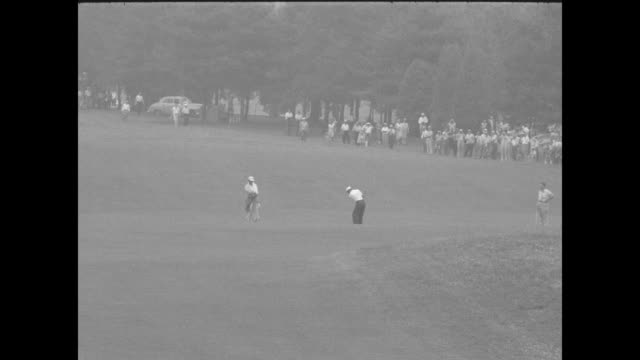 vídeos de stock, filmes e b-roll de sports / title middlecoff wins by a stroke superimposed over golf ball grass and golf club / camera follows the ball / 56th us open is played at oak... - 1956