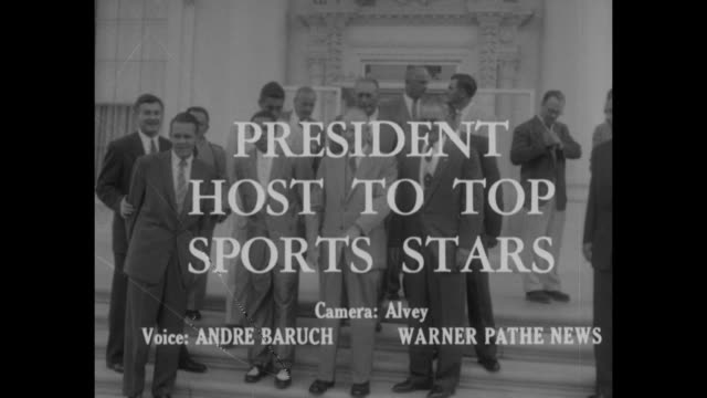 Sports / title President Host to Top Sports Stars superimposed over US President Dwight Eisenhower standing on steps with group of sports stars /...