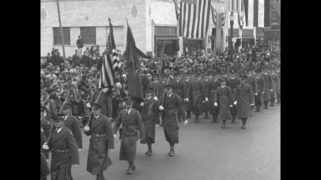 state dedicates lincoln memorial spokane wash veterans march in parade marking the unveiling of emancipator's statue / veterans marching down street... - armistice stock videos and b-roll footage