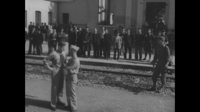 stimson war secretary visits fifth army in italy / us secretary of war henry stimson and his party coming down steps of piazza garibaldi in naples /... - piazza venezia stock videos and b-roll footage