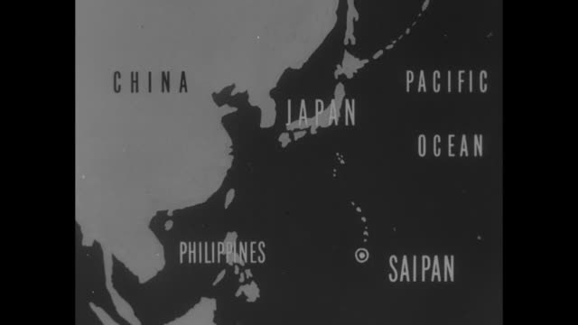 """superforts - b-29's raid japan from saipan base"" / map saipan in pacific ocean / long lines of tents, soldiers in path between them / shirtless... - pacific war video stock e b–roll"