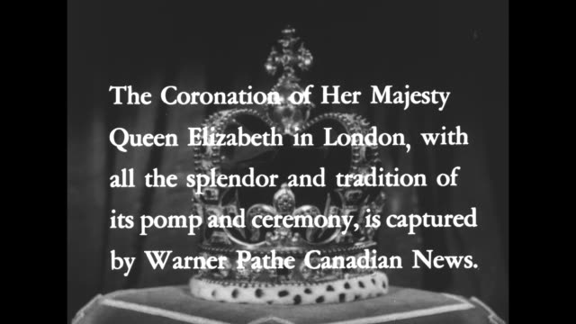 title card superimposed over revolving st edward's crown the coronation of her majesty queen elizabeth in london with all the splendor and tradition... - 1952 bildbanksvideor och videomaterial från bakom kulisserna
