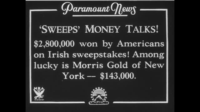 """sweeps money talks! $2 000 won by americans on irish sweepstakes! among lucky is morris gold of new york - $143,000."" / man is interviewed after... - lotterie stock-videos und b-roll-filmmaterial"