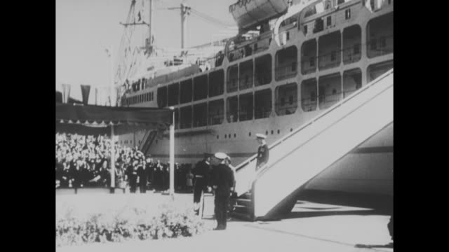 'Tasmania and Melbourne Greet Queen and Duke' / royal liner 'Gothic' into Hobart port / Queen Philip on board / VS ship docks / Queen Philip down...