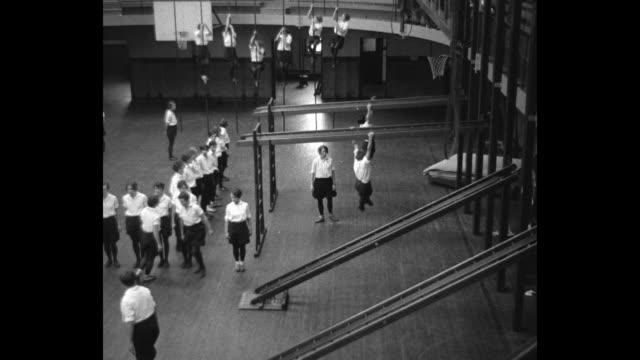 teach teachers dumbbells' lure la crosse wisc physical training aspirants take gym course to learn secrets of violent exercise / overhead shot of... - bocksprång bildbanksvideor och videomaterial från bakom kulisserna
