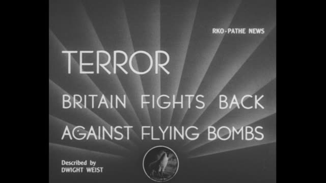 """stockvideo's en b-roll-footage met terror britain fights back against flying bombs"""" / v-1 flying bomb in the sky / military plane tracking it / plane shoots tracer bullets / note:... - bom"""
