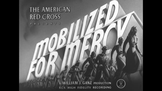 The American Red Cross Presents Mobilized for Mercy a William J Ganz Production / VS battles on sea land and air battleships fire large artillery...