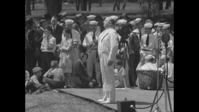 the governor of south carolina i c blackwood / gov ibra blackwood wearing a white suit stands on a platform and speaks to a crowd which includes men... - sailor suit stock videos and b-roll footage