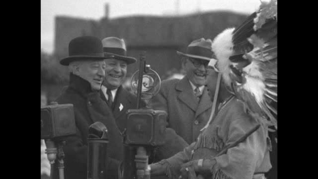 the happy warrior / ms al smith winnebago chief yellow thunder and two other men behind microphones on al smith day at the chicago world's fair chief... - indigenous peoples of the americas stock videos & royalty-free footage