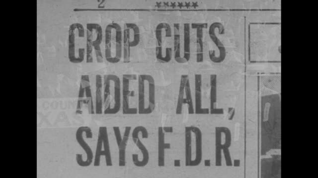 """stockvideo's en b-roll-footage met """"the voice of our farmers"""" / newspaper story headline """"roosevelt refuses to surrender"""" superimposed over ext us capitol / wipe / newspaper story """"new... - city of neighbors: give once for all film title"""