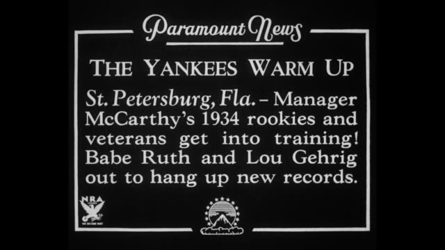 the yankees warm up st petersburg fla manager mccarthy's 1934 rookies and veterans get into training babe ruth and lou gehrig out to hang up new... - lou gehrig stock videos & royalty-free footage