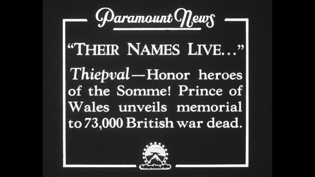 their names live thiepval honor heroes of the somme prince of wales unveils memorial to 73000 british war dead / edward in military uniform... - esercito militare francese video stock e b–roll