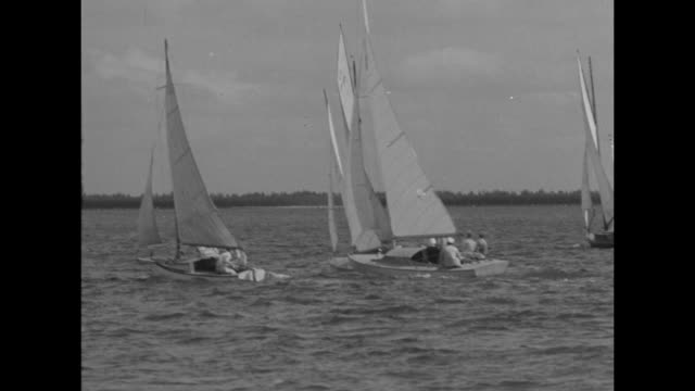 """""""tiny boats sail biscayne bay in midwinter race - picturesque regatta off miami beach tests seamanship of youthful skippers"""" / aerials group of... - regatta stock-videos und b-roll-filmmaterial"""