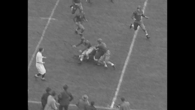 òtouch down paradeó / title superimposed over a game / game highlights / teams run plays touchdown / qs stands with excited fans / ball is kicked... - ohio state university stock videos & royalty-free footage