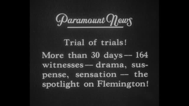 trial of trials more than 30 days 164 witnesses drama suspense sensation the spotlight on flemington / qs nj supreme court justice thomas trenchard... - hammer stock-videos und b-roll-filmmaterial