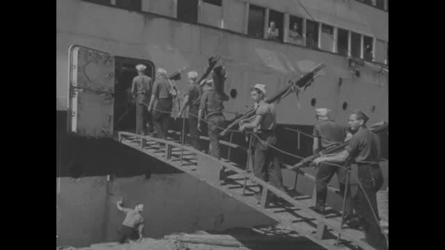 us navy photographic services newsfilm service released by the office of public information motion picture section / hospital ship uss solace at dock... - rotes kreuz organisierte gruppe stock-videos und b-roll-filmmaterial