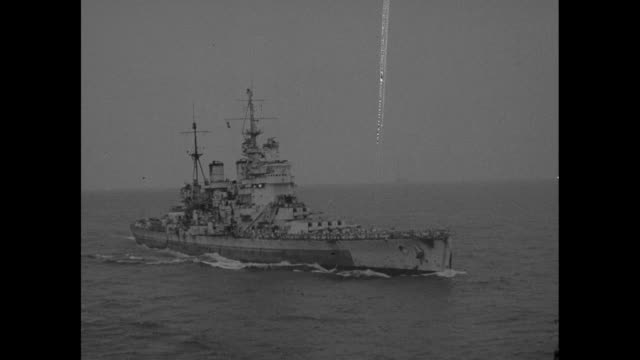 us navy photographic services newsfilm service released by the office of public information motion picture section / british battleship hms king... - japanese surrender stock videos and b-roll footage