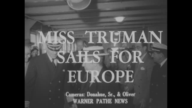 stockvideo's en b-roll-footage met title card us news / title card miss truman sails for europe superimposed on bess and margaret truman aboard the ss america / ship captain escorts... - margaret truman