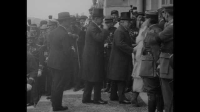 versailles france first pictures showing the allied peace delegates arriving at versailles to sign the momentous document which officially ends five... - top hat stock videos & royalty-free footage
