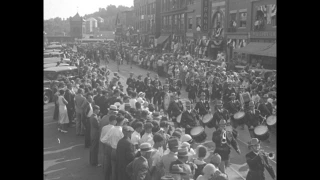 veterans of old 101st regiment hold first reunion yankee division outfit celebrates st mihiel day with parade at clinton / vs elevated views of a... - parade float stock videos and b-roll footage