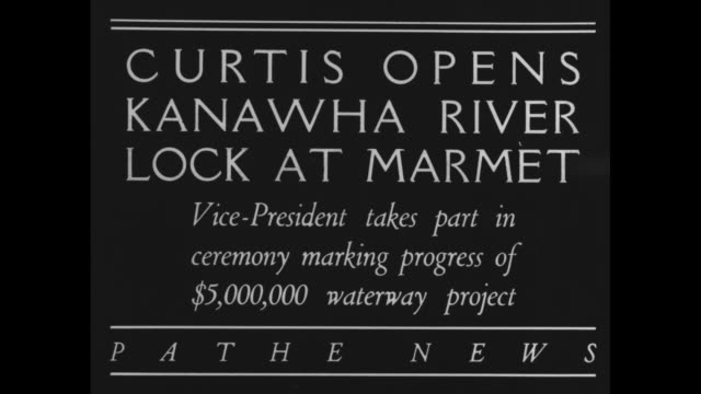vicepresident curtis opens kanawha river lock at marmet vicepresident takes part in ceremony marking progress of $5000 waterway project / several... - chiusa di fiume video stock e b–roll