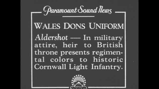 "vídeos y material grabado en eventos de stock de ""wales dons uniform - aldershot - in military attire, heir to british throne presents new regimental colors to historic cornwall light infantry"" / vo... - infantería"