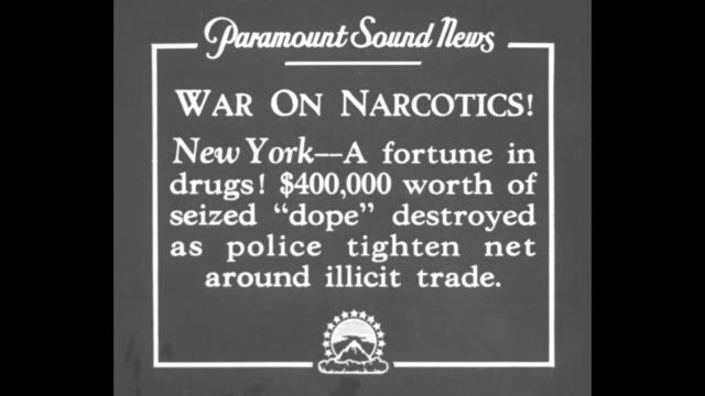 """war on narcotics! new york - a fortune in drugs! $400,000 worth of seized 'dope' destroyed as police tighten net around illicit trade"" / law... - crime or recreational drug or prison or legal trial video stock e b–roll"