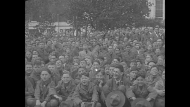 washington dc boy scouts visit president coolidge sir robert badenpowell founder of scouts joins national council delegates on call at white house /... - bridge built structure stock videos & royalty-free footage