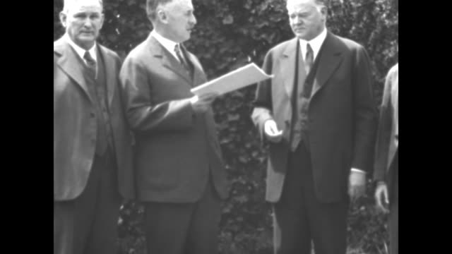 washington dc president hoover receives the new limitation treaty at the white house / secretary of state henry stimson makes statement hands hoover... - washington state stock videos and b-roll footage