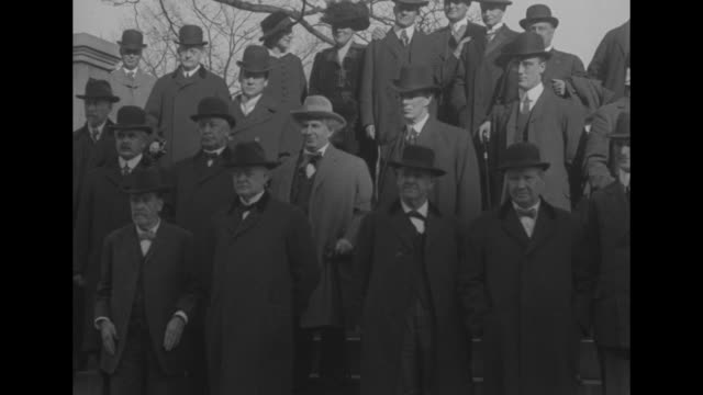 washington dc president wilson opens panama fair distinguished men see him push button that sets wheels of exposition in motion / group of officials... - william jennings bryan stock videos & royalty-free footage