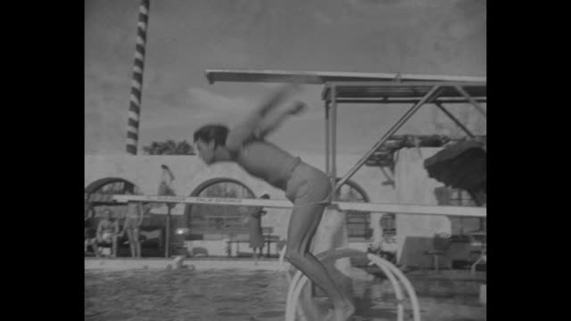 weissmuller swims palm springs cal johnny weissmuller demonstrates crawl at desert meet in mirador pool nov 1932 / swimmer/actor johnny weissmuller... - palm springs california pool stock videos & royalty-free footage