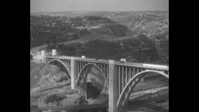 "vídeos de stock e filmes b-roll de ""westinghouse opens longest us stone arch span - former governor fisher dedicates new highway bridge at east pittsburgh, pa"" / sot former governor... - presidente de empresa"