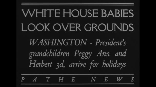 vídeos de stock, filmes e b-roll de white house babies look over groundswashingtonpresident's grandchildren peggy ann and herbert 3rd arrive for holidays / lou hoover and daughterinlaw... - cão pastor