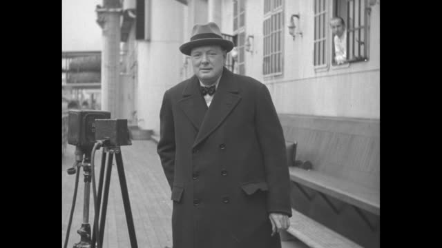 winston churchill lauds amity between us and england british statesman in america on visit finds two nations more friendly than ever / winston... - winston churchill politik stock-videos und b-roll-filmmaterial