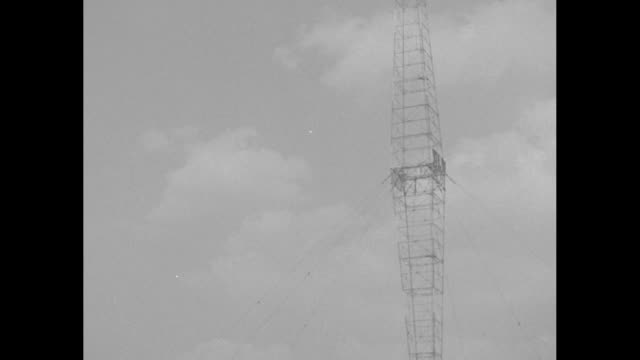 wlw biggest radio station now on air / shot of exterior of radio station and its broadcasting tower / shot from below of tower and letters wlw on it... - pocket watch stock videos & royalty-free footage
