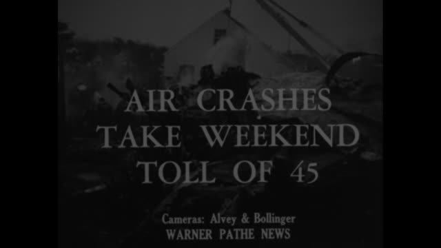 "vidéos et rushes de ""world news"" / title: ""air crashes take weekend toll of 45"" superimposed over site of airplane crash near andrews field in maryland / vs firefighters... - maryland état"