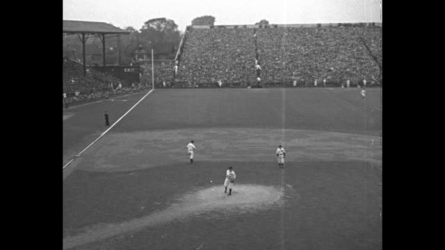 world series of 1934 detroit cardinals get edge on tigers winning opener 8 to 3 nation's eyes on baseball classic as major league champs fight it out... - 1934 stock videos and b-roll footage