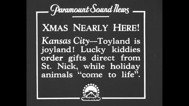 Xmas Nearly Here Kansas City Toyland is joyland Lucky kiddies order gifts direct from St Nick while holiday animals 'come to life'/ New York City NY...