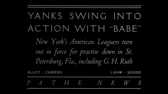yanks swing into action with babe new york's american leaguers turn out in force for practice down in st petersburg fla including g h ruth / new york... - new york yankees stock-videos und b-roll-filmmaterial