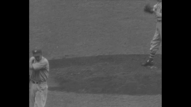 yanks win series / title 1937 world champions superimposed over new york yankee team in dugout / group of photographers and cameramen take pictures... - lou gehrig stock videos & royalty-free footage