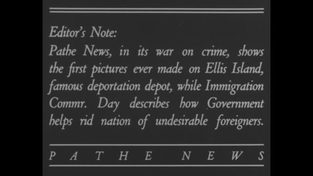stockvideo's en b-roll-footage met drive alien gangsters out of us and editor's note pathe news in its war on crime shows the first pictures ever made on ellis island famous... - immigrant