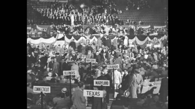 editor's note here is historic scene in chicago stadium as massed delegations from all parts of country gather to adopt party platform and launch... - senator stock videos & royalty-free footage